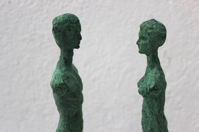 Pair of Patinated Bronze Giacometti Style Sculptures For Sale 1