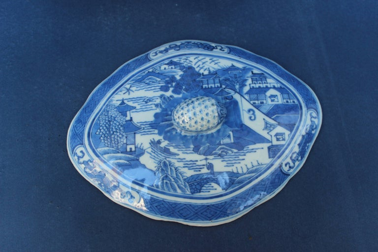 Blue and White Chinese Canton Covered Dish For Sale 1