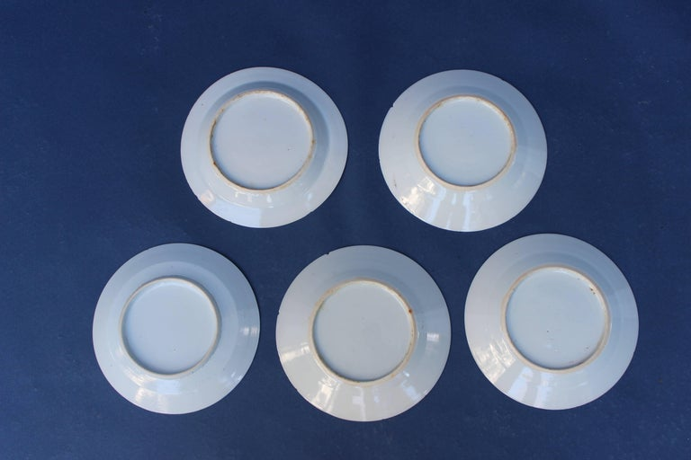 Set of Five Chinese Blue and White Canton Plates In Good Condition For Sale In East Hampton, NY