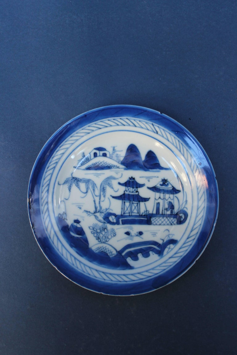 Set of Five Chinese Blue and White Canton Plates For Sale 1