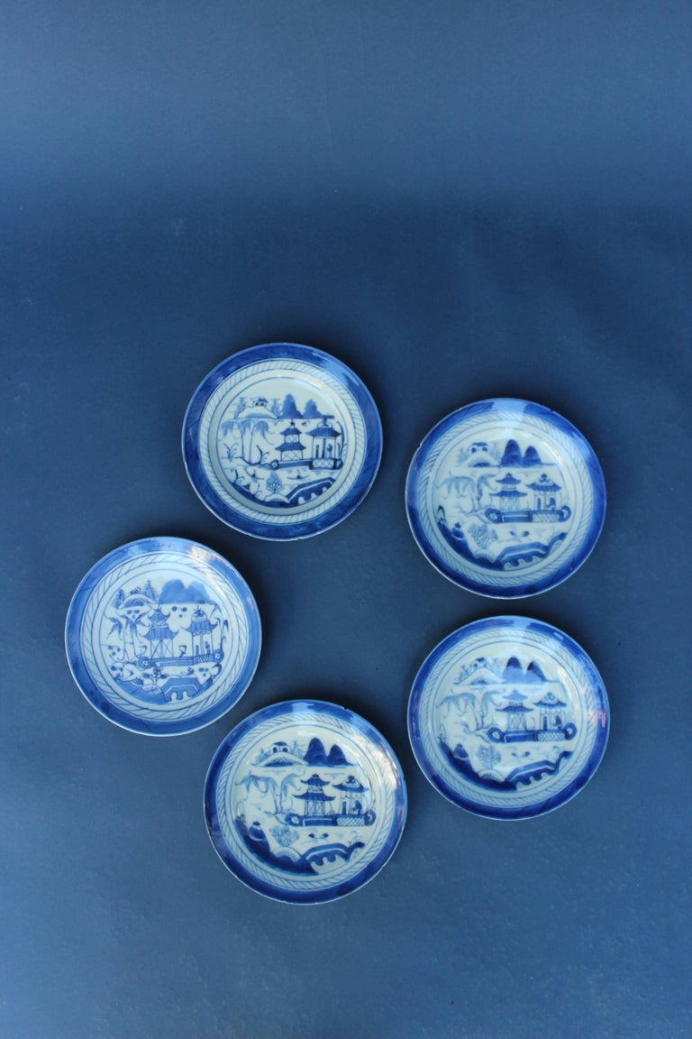 Set of Five Chinese Blue and White Canton Plates... Chips to the edges of plates