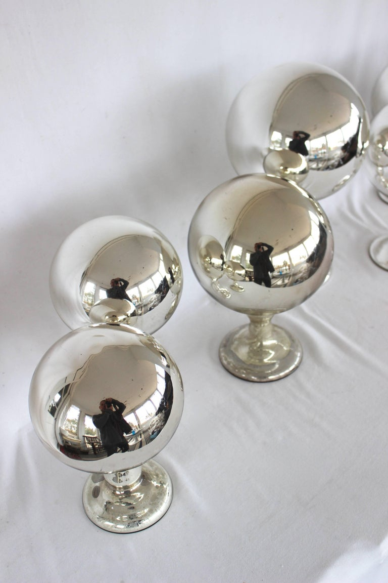 Collection of Mercury Glass Spheres......antique hat stands.....  1 Large - 13.5