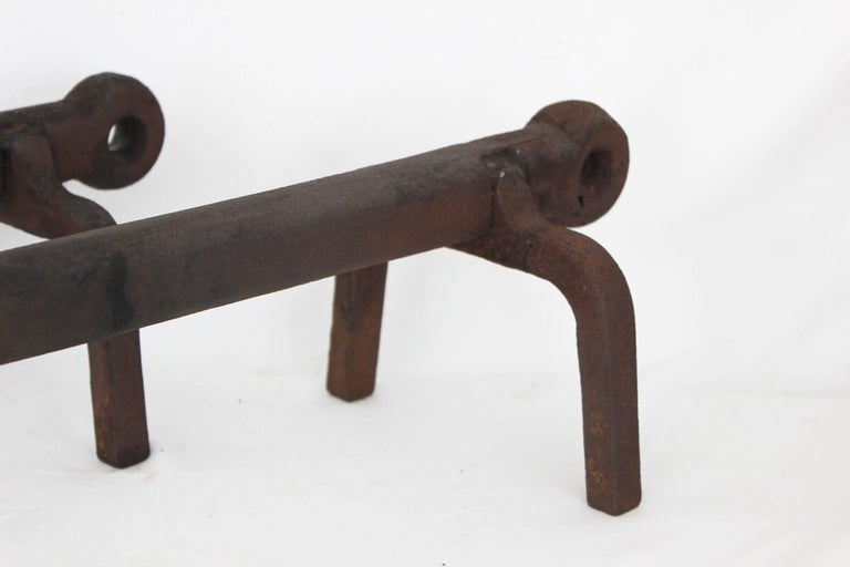 Pair of Iron Anchor Andirons For Sale 1