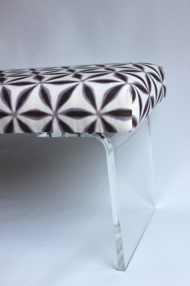 Upholstered Lucite Bench For Sale 2
