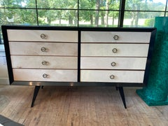 Modern Lacquered Italian Chest with Parchment Drawers