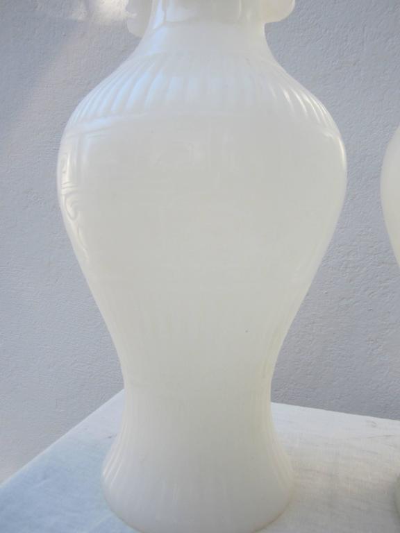 20th Century Pair of White Peking Glass Vases For Sale