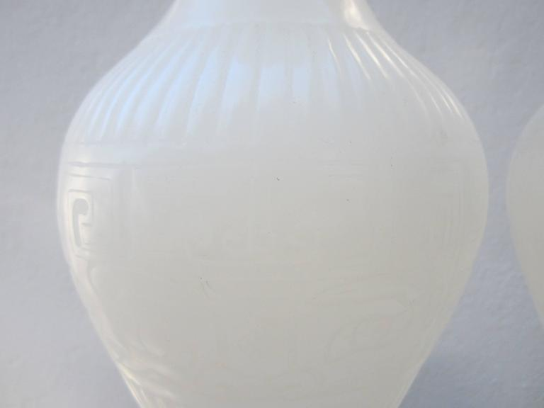 Chinese Pair of White Peking Glass Vases For Sale