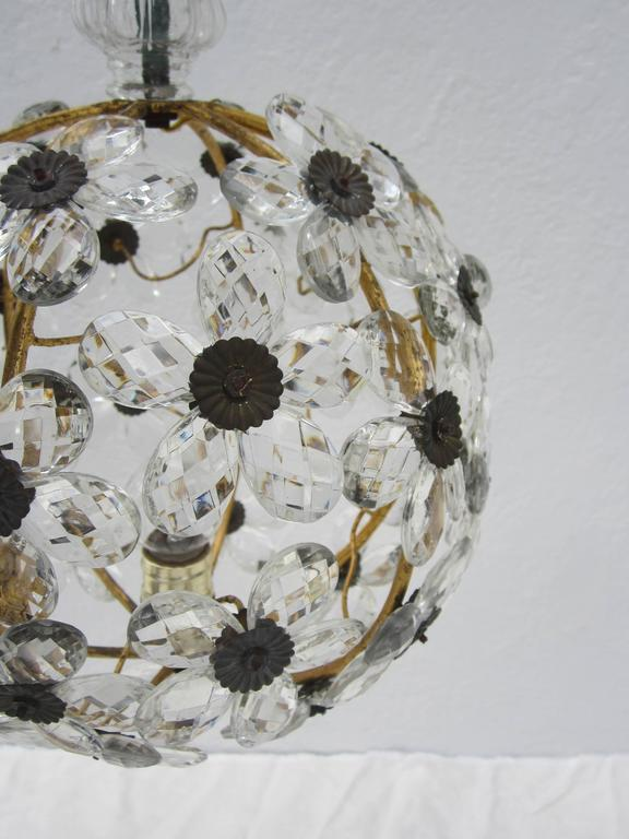 20th Century French Crystal Flower Ball Chandelier For Sale