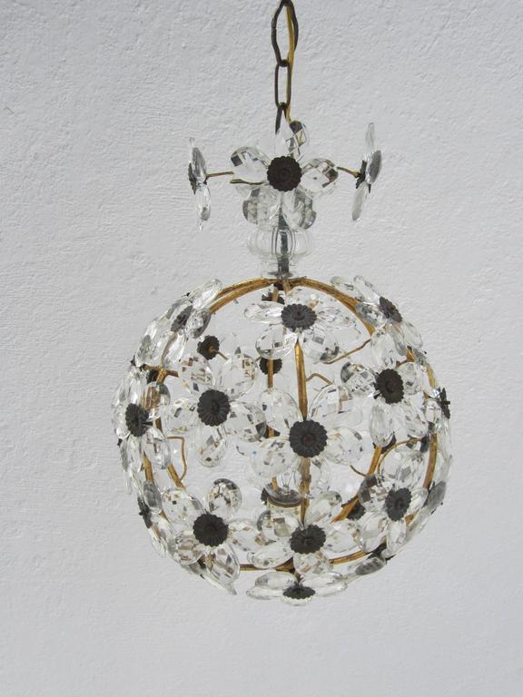 French Crystal Flower Ball Chandelier For Sale 3