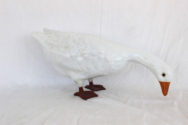 White Glazed Ceramic Goose 2