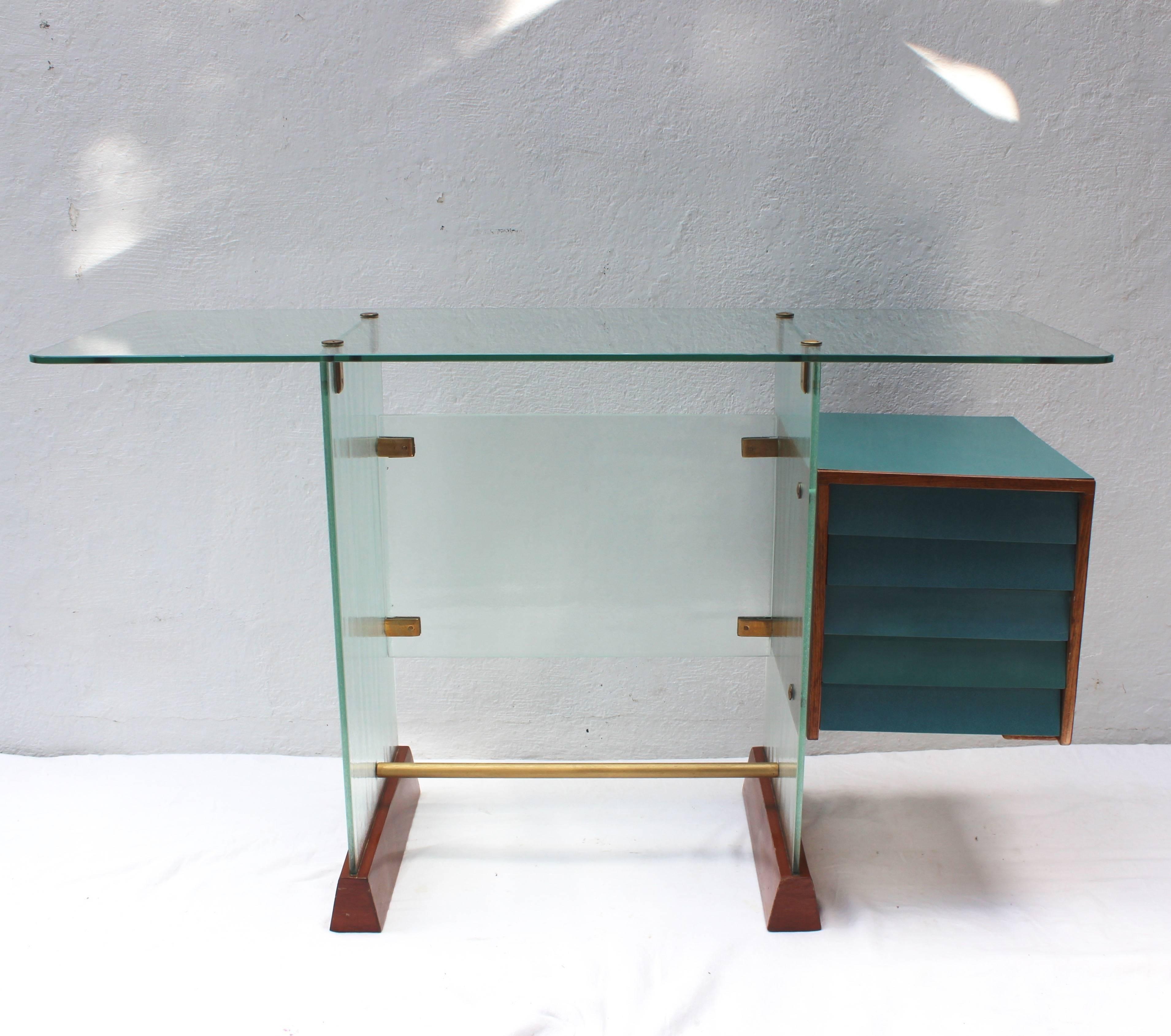 Gio Ponti Glass Desk For At 1stdibs