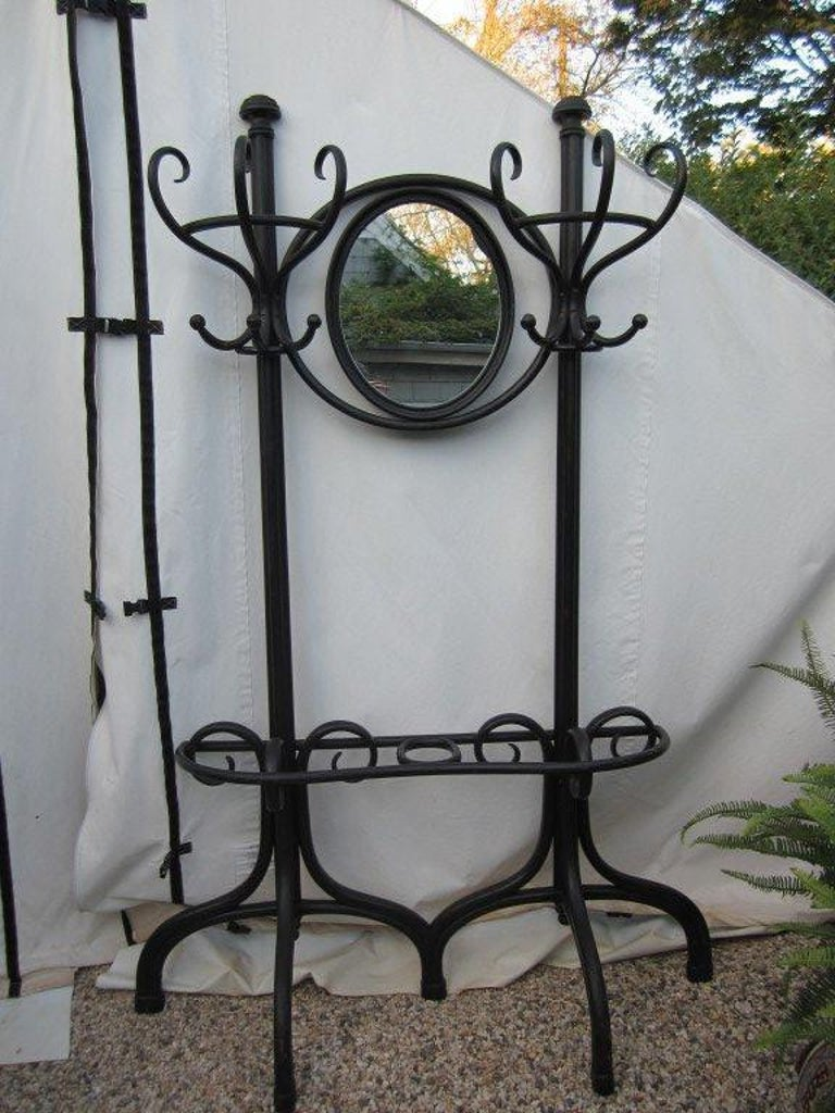 Thonet Hall Tree with Mirror In Good Condition For Sale In East Hampton, NY