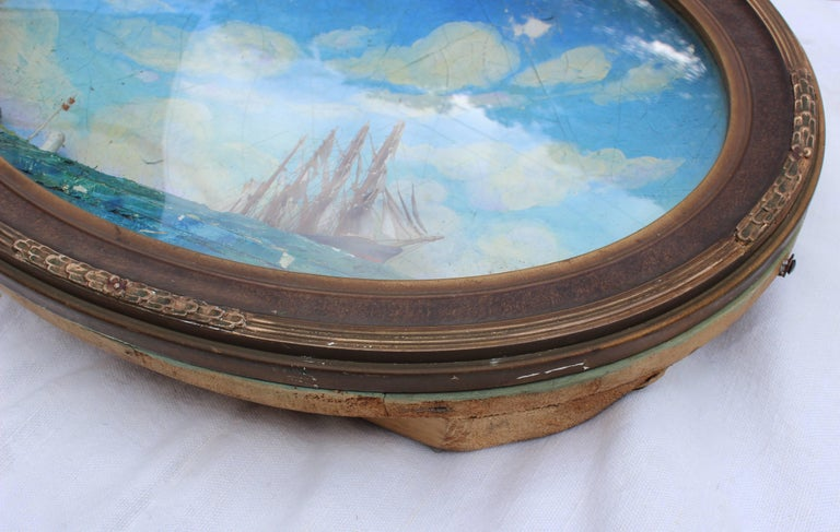 Oval Concave Ship Diorama For Sale 2