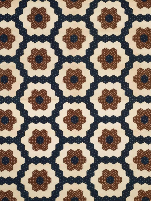 "Folk Art ""Mosaic Hexagons"" Antique Quilt For Sale"