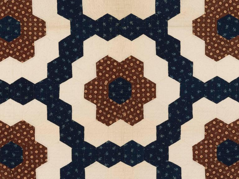 "American ""Mosaic Hexagons"" Antique Quilt For Sale"