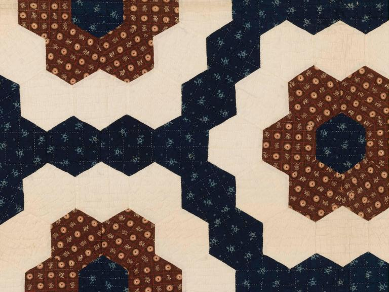 "Patchwork ""Mosaic Hexagons"" Antique Quilt For Sale"