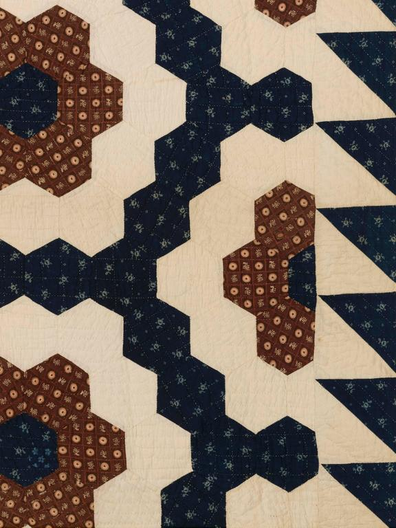 "19th Century ""Mosaic Hexagons"" Antique Quilt For Sale"