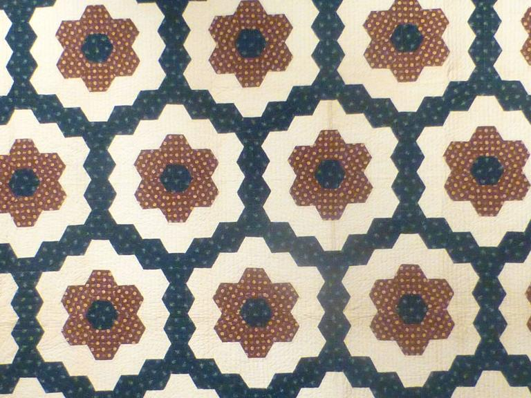 "Cotton ""Mosaic Hexagons"" Antique Quilt For Sale"