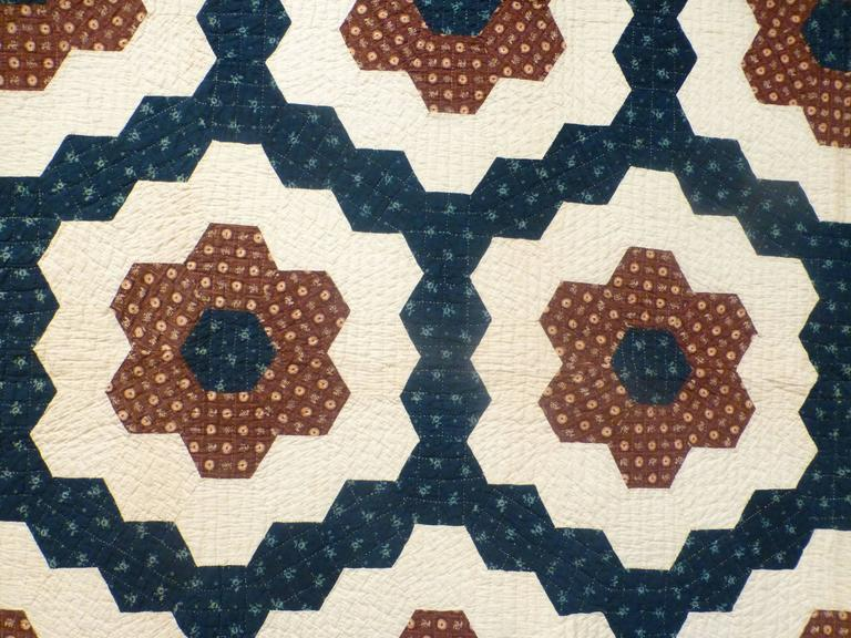 """Mosaic Hexagons"" Antique Quilt For Sale 2"