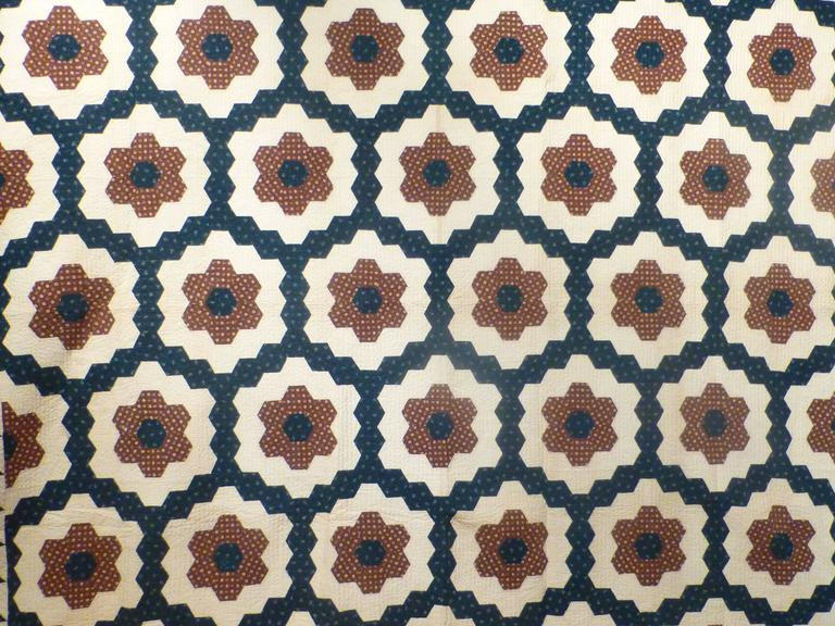 """Mosaic Hexagons"" Antique Quilt In Excellent Condition For Sale In New York, NY"