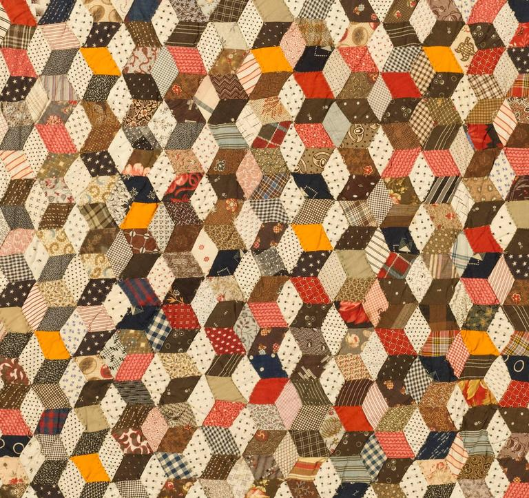 """Tumbling Blocks"" Pieced Quilt 6"