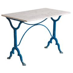 Antique French Blue Painted Bistro Table with Marble-Top, circa 1900