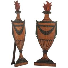 Pair of French Painted Wood Two Dimensional Urns, circa 1880