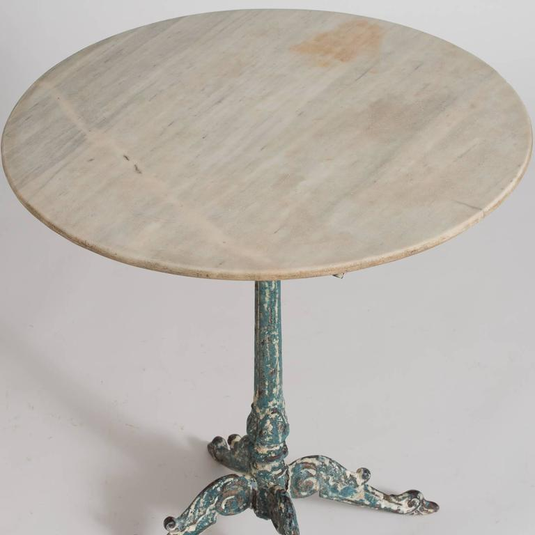 This Charming Table Has A Very Intricate Cast Iron Base And A Great Patina  With Traces