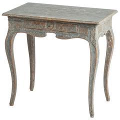 A Swedish Rococo Period Console Table in a Seafoam Paint, circa 1760