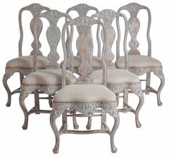 Set of Six Swedish Rococo Style Dining Chairs, Late 19th Century