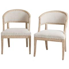 Pair of Swedish Gustavian Period Barrel Back Armchairs, circa 1790