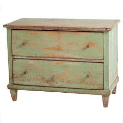 French Green Painted Chest of Drawers, circa 1820