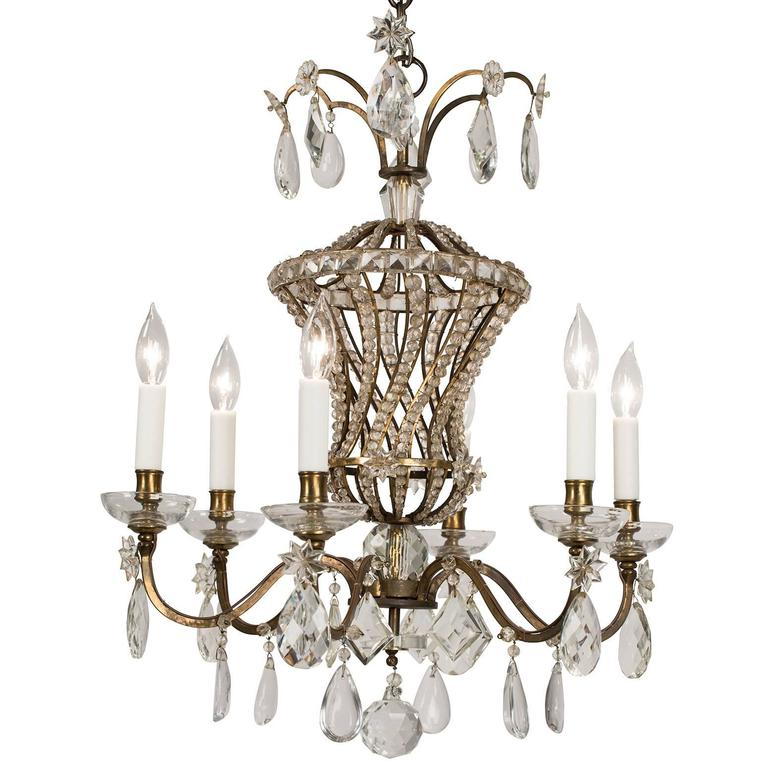 French Bagues Style Six-Light Chandelier, circa 1930 For Sale