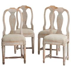 Set Four Swedish 18th Century Rococo Period Dining Chairs