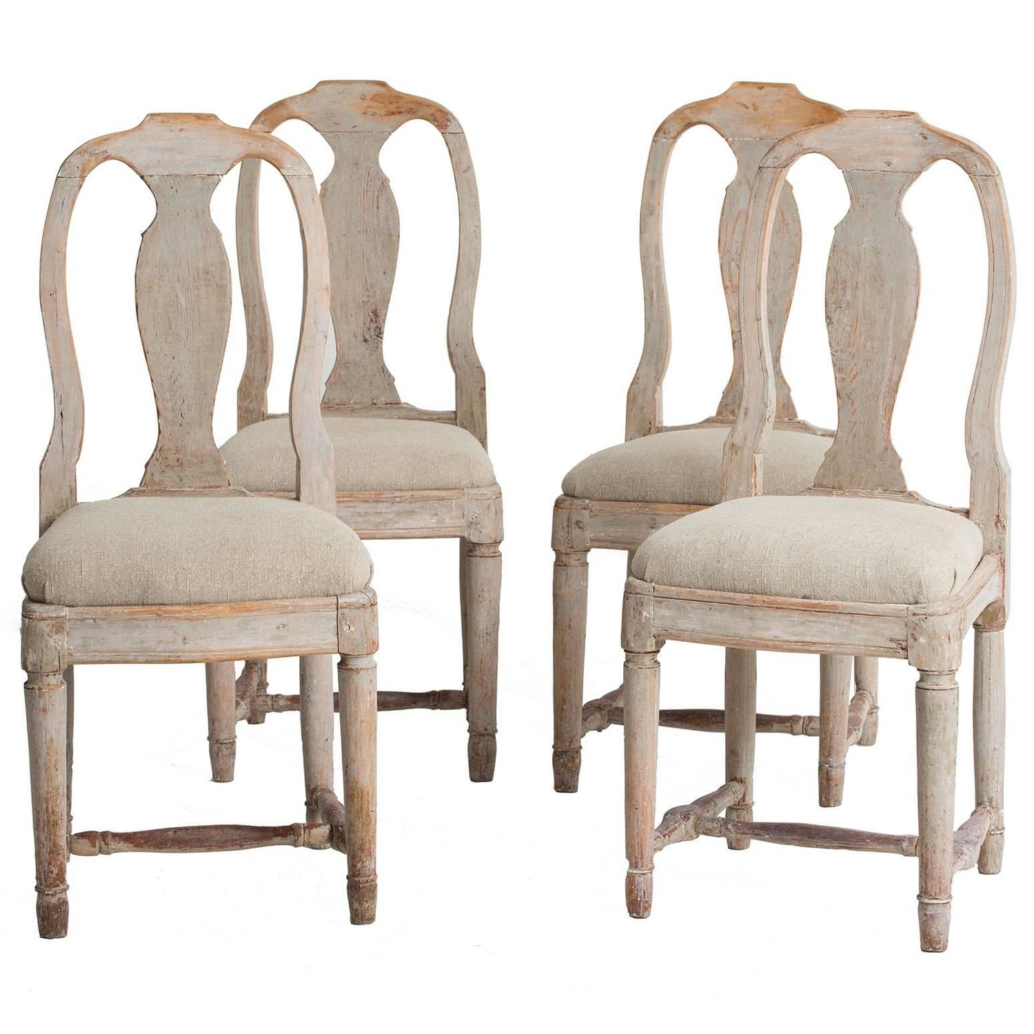 Set Four Swedish 18th Century Rococo Period Dining Chairs For Sale