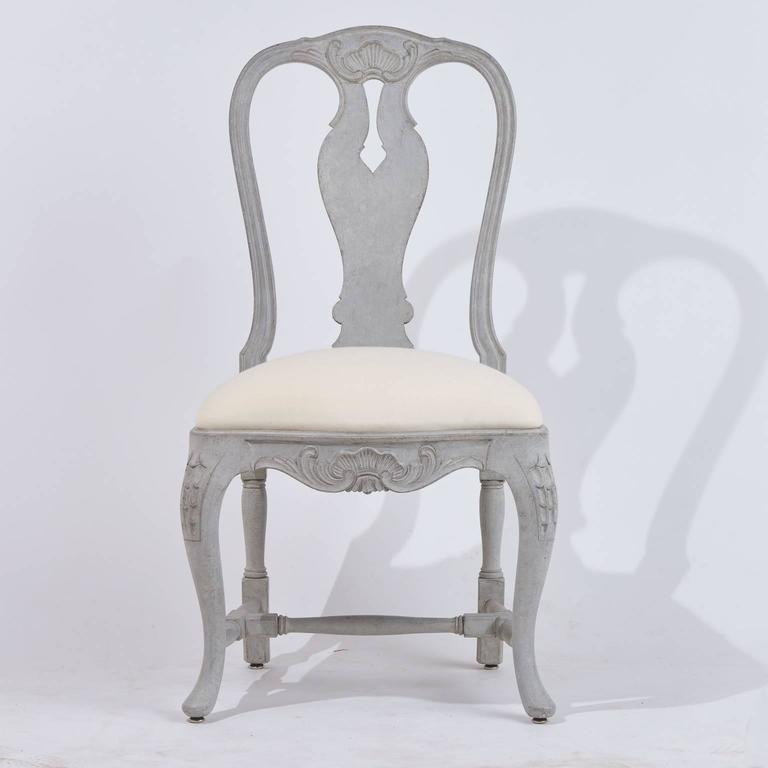 Ten swedish rococo style grey painted carved wood dining for Swedish style dining chairs