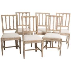 Set of Six Swedish Gustavian Period Dining Chairs, circa 1800