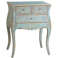 Rare Swedish Rococo Period Blue Painted Cabinet, circa 1760