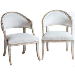 Pair of Gustavian Style Barrel Back Armchairs, circa 1820