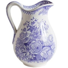 Antique French Ironstone Pitcher with Lavender Flowers, circa 1860
