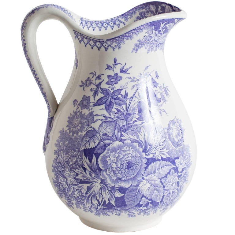 Antique French Ironstone Pitcher with Lavender Flowers, circa 1860 For Sale