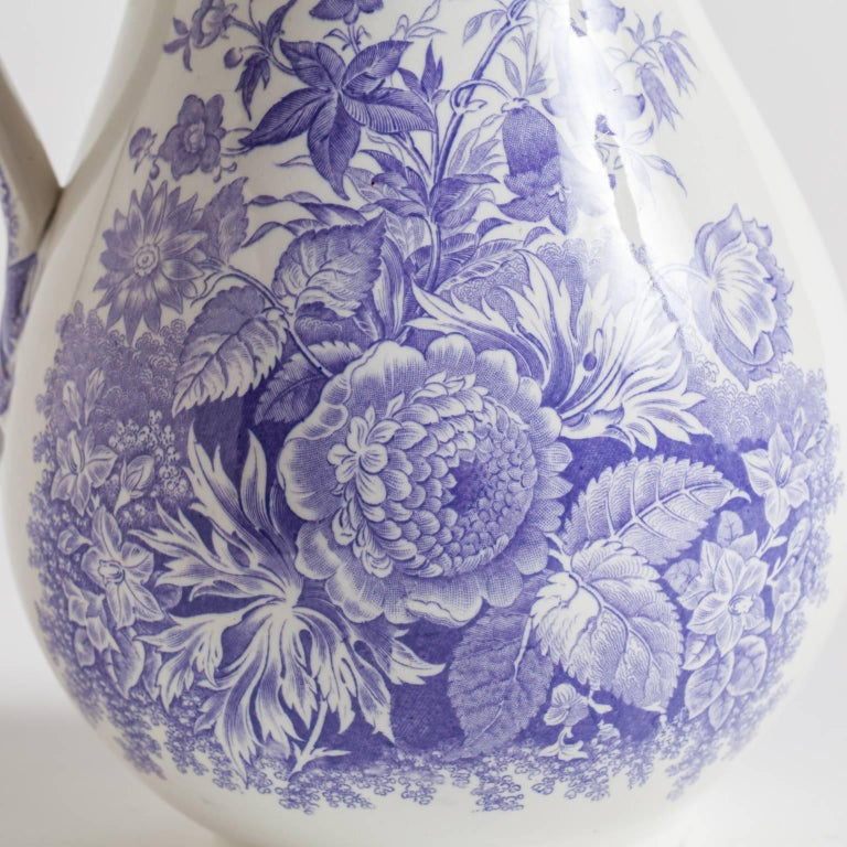Antique French Ironstone Pitcher with Lavender Flowers, circa 1860 In Excellent Condition For Sale In New Preston, CT