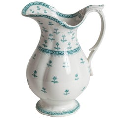 English Antique Ironstone Pitcher with Green Decoration, circa 1839