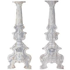 Pair of Italian Painted Stage Set Columns, circa 1890