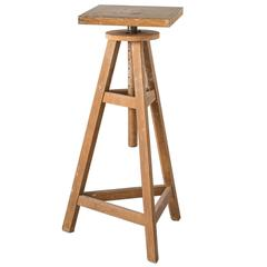 Natural Finish French Vintage Adjustable Sculptors Stand, circa 1950