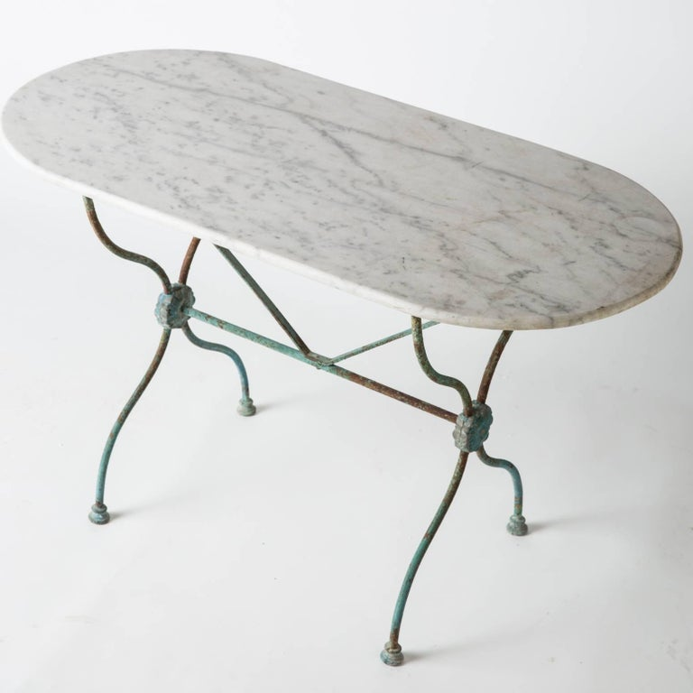 French Bistro Table with an Oval White Marble-Top, circa 1880 2