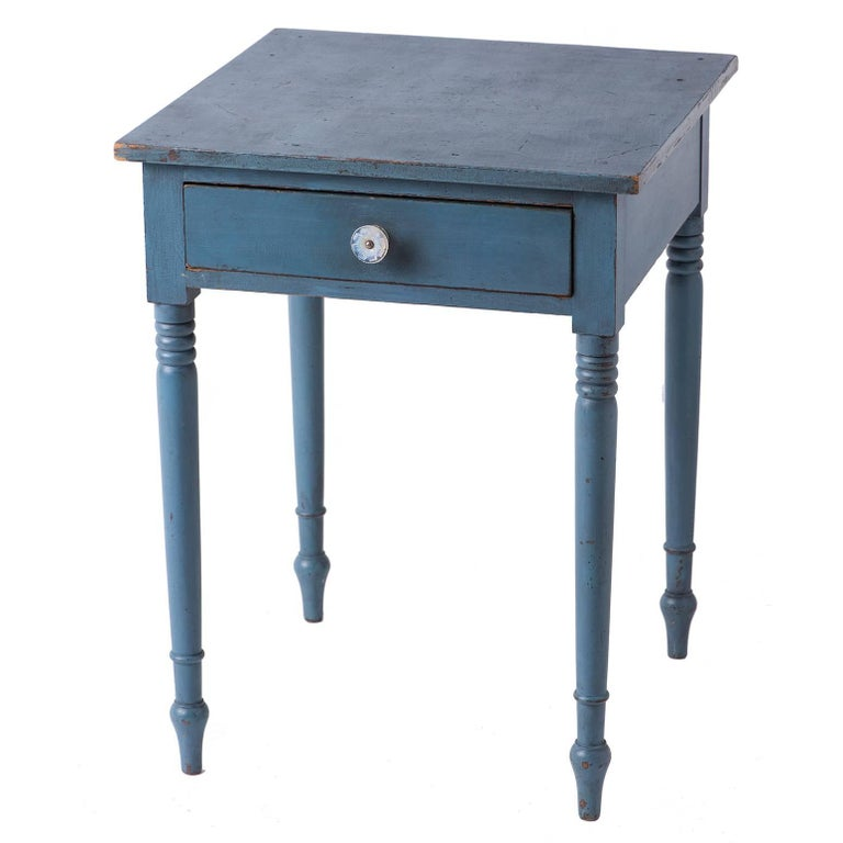 American Blue Painted One Drawer Stand, circa 1820 1