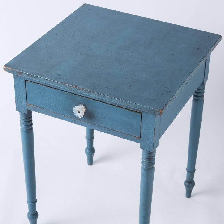 American Blue Painted One Drawer Stand, circa 1820 2