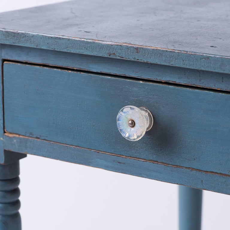 American Blue Painted One Drawer Stand, circa 1820 3
