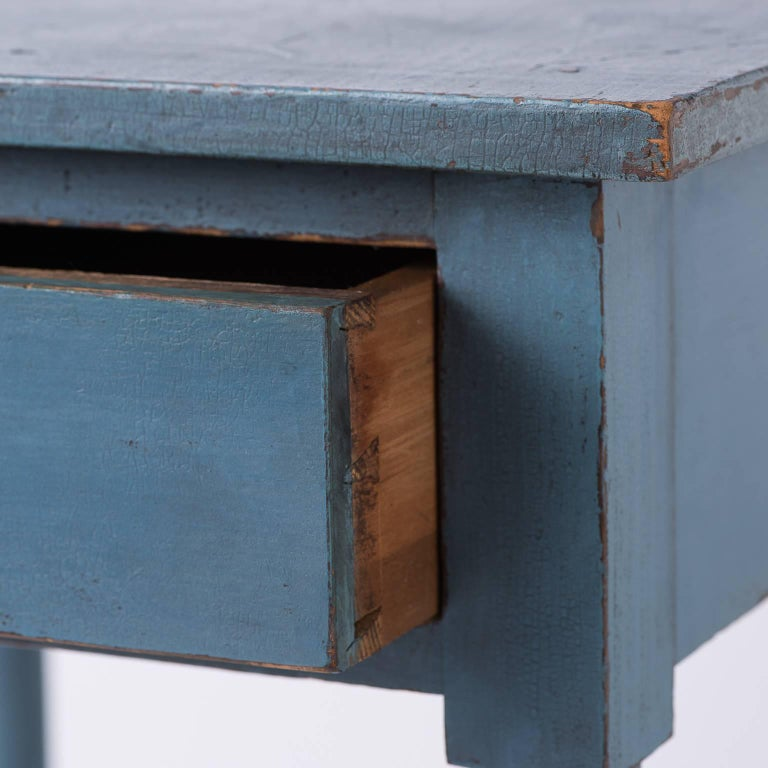 American Blue Painted One Drawer Stand, circa 1820 6